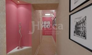 Длинный коридор как переход от гостевой зоны к личной зоне -спальне и детской.