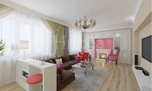 Просторная гостиная с камином и телевизором