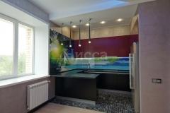 Футуристический стиль кухонной зоны основан на смелых сочетаниях