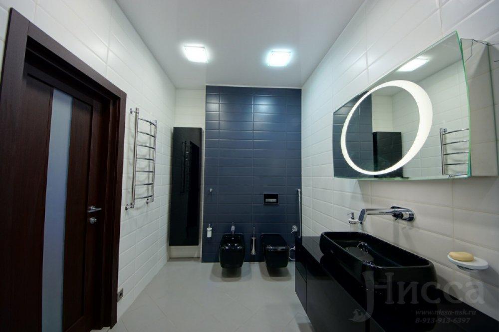 Дизайн и ремонт ванной в черно-белых тонах