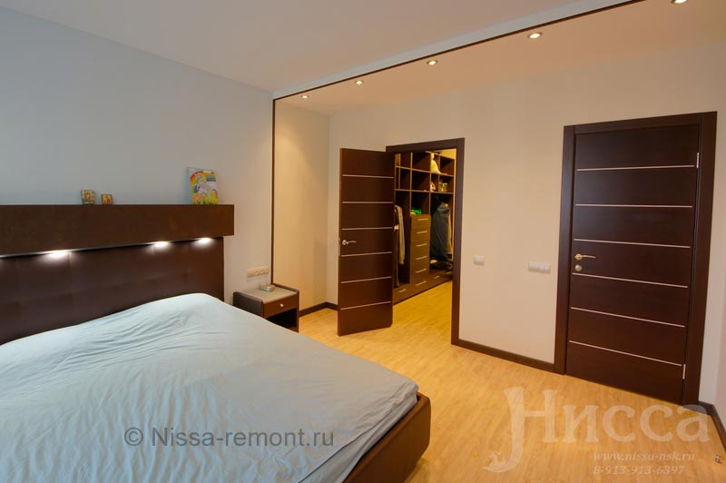 Отделка спальни в 6-ти комнатной квартире на Коптюга 15, Академгородок