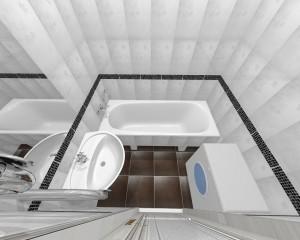 В дизайн-проекте ванной учтены стиральная машинка и ванна