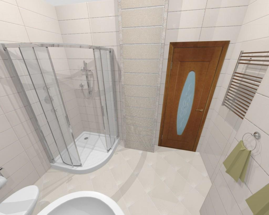 Дверь в ванную комнату имеет стеклянные вставки