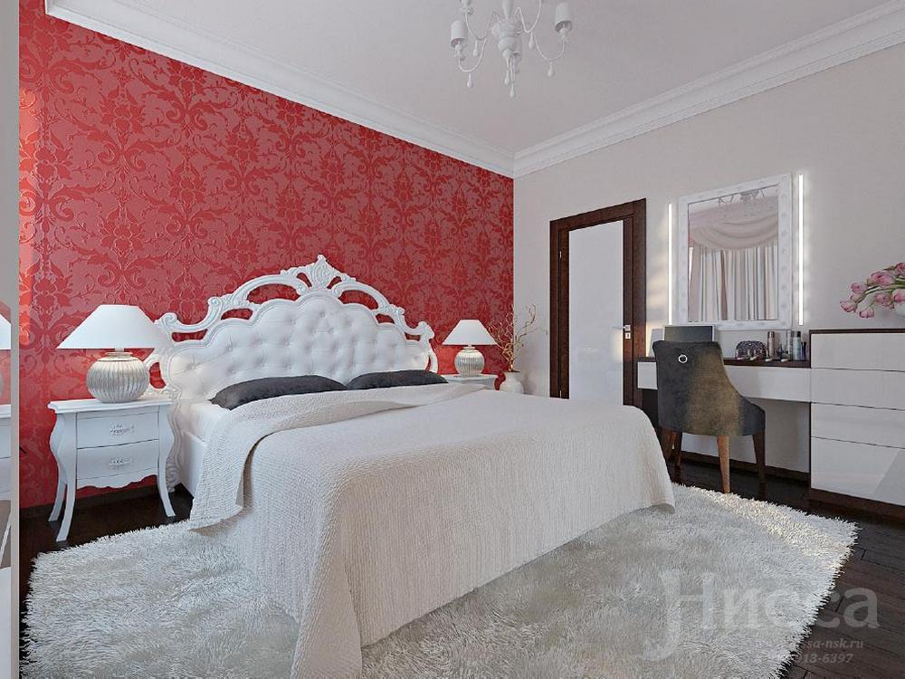 В дизайне спальни использован яркий акцент, что делает комнату особо уютной и современной