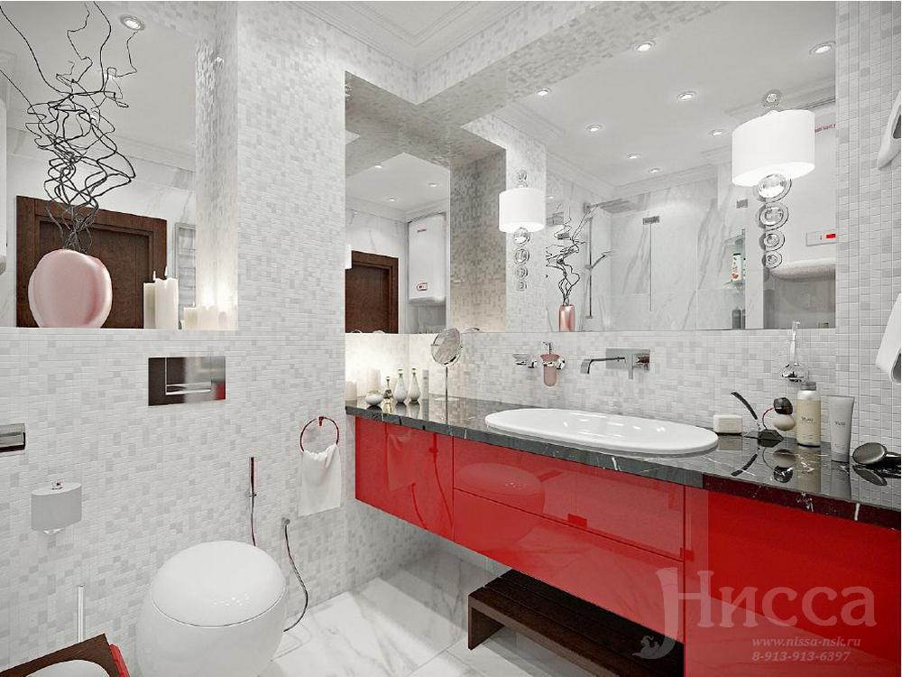 Яркие элементы в дизайне спальни поддерживают общий стиль интерьера квартиры