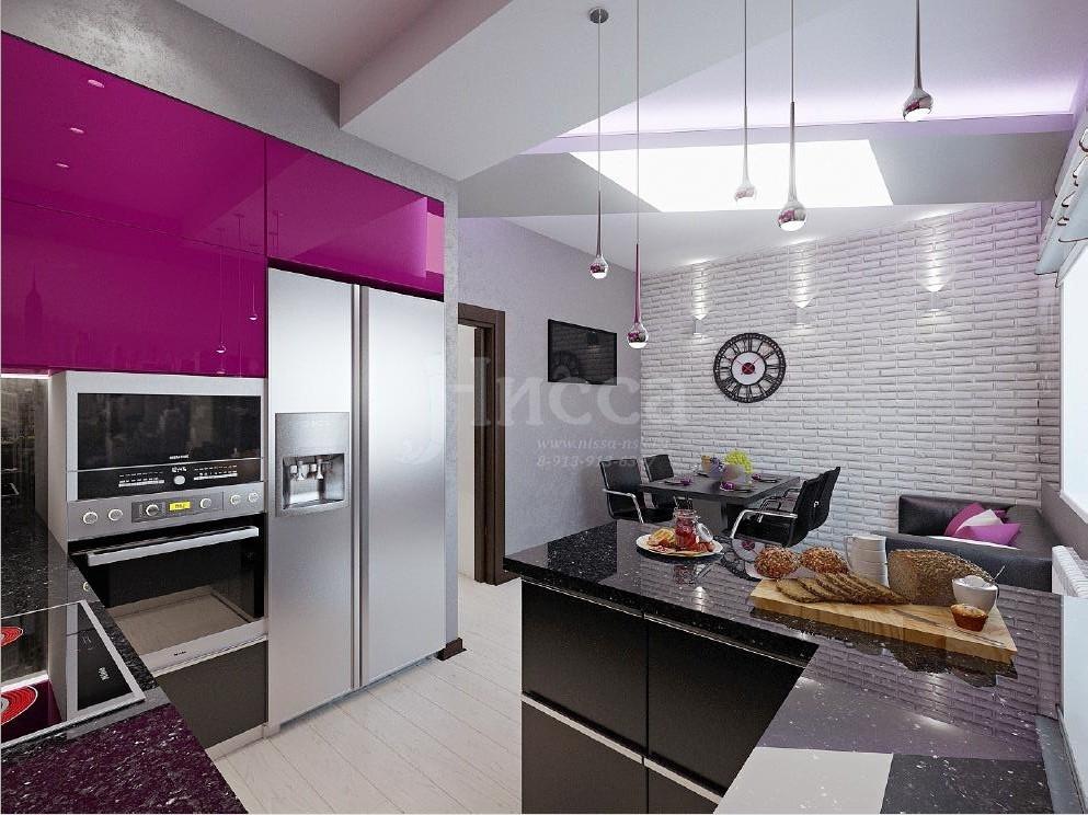 Дизайн-проект кухонной зоны 3-комнатной квартиры