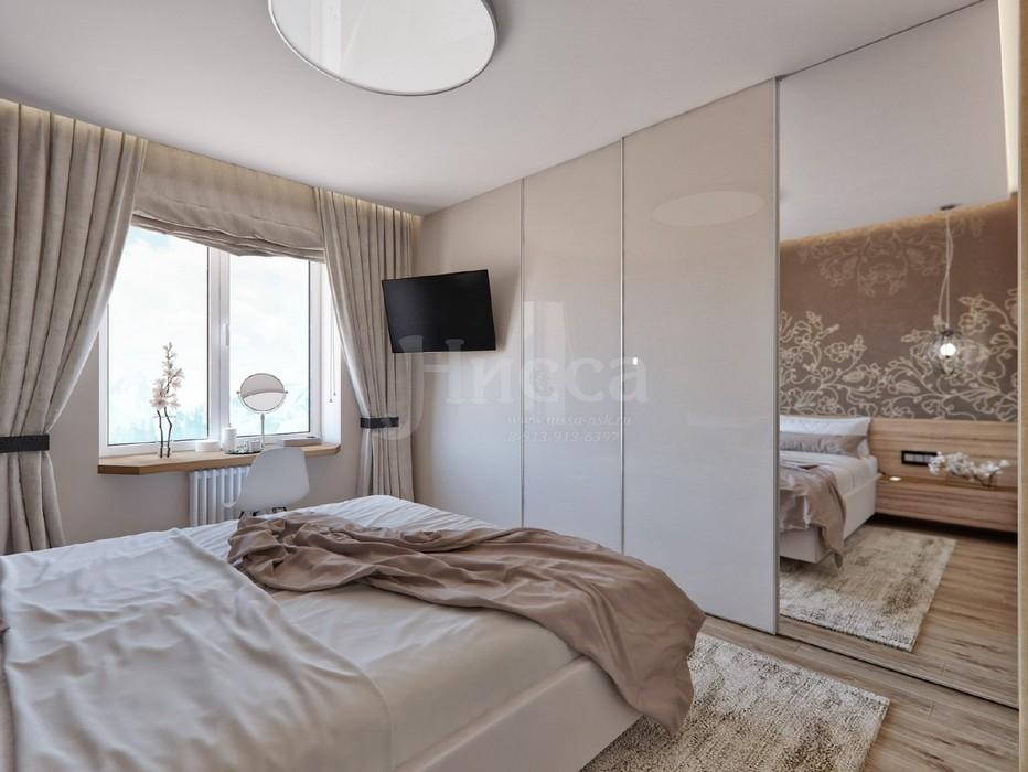 Дизайн трехкомнатной квартиры. Спальня с спокойных тонах