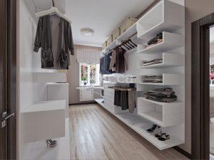 Дизайн интерьера коттеджа. Гардеробная, смежная со спальней.