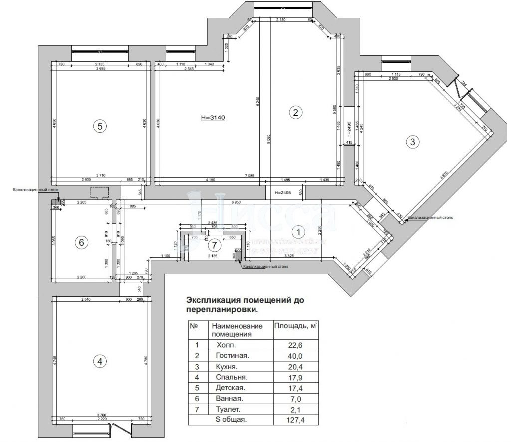 Обмерочный план. Разработка дизайн-проекта квартиры.