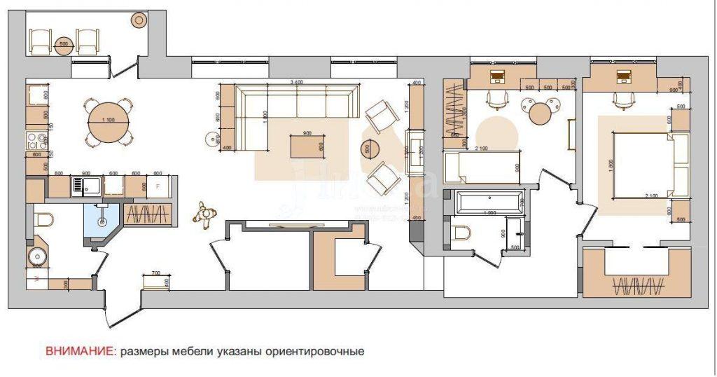 План расстановки мебели трехкомнатной квартиры