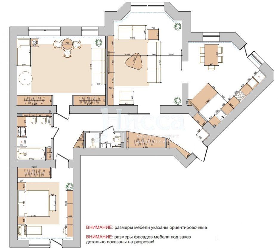 Разработка дизайн-проекта трехкомнатной квартиры. План расстановки мебели.