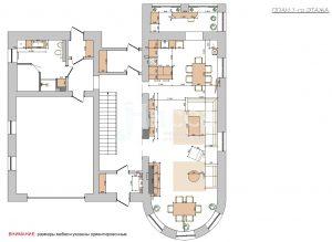 Дизайн-проект коттеджа. План расстановки мебели 1-го этажа.