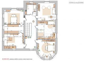 Дизайн-проект коттеджа. План расстановки мебели 2-го этажа.
