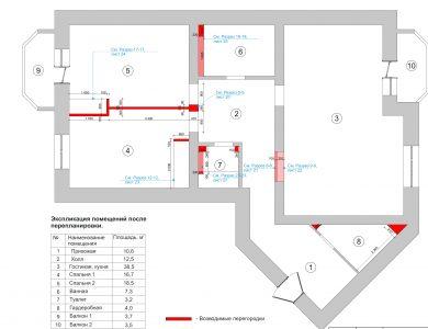 План перепланировки. Дизайн-проект трехкомнатной квартиры.