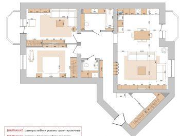 План расстановки мебели. Дизайн трехкомнатной квартиры.