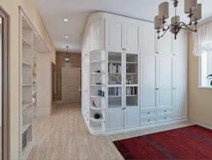 Встроенная мебель. Очень объемный и при этом стильный шкаф гармонично вписался в интерьер.