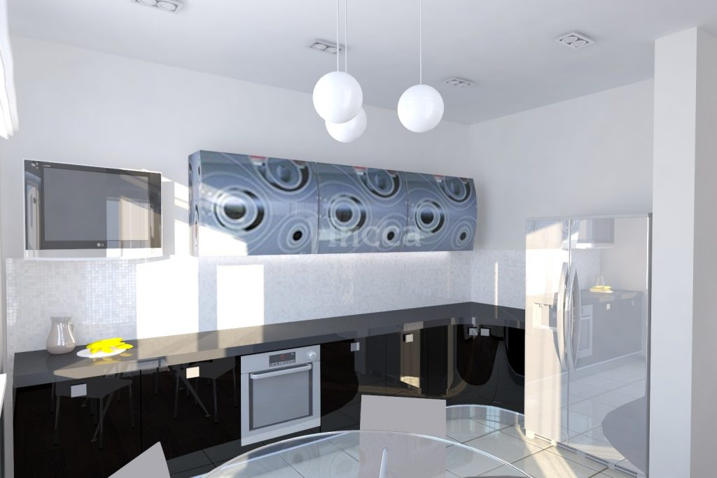 Дизайн кухни. Холодильник во встроенной кухне.