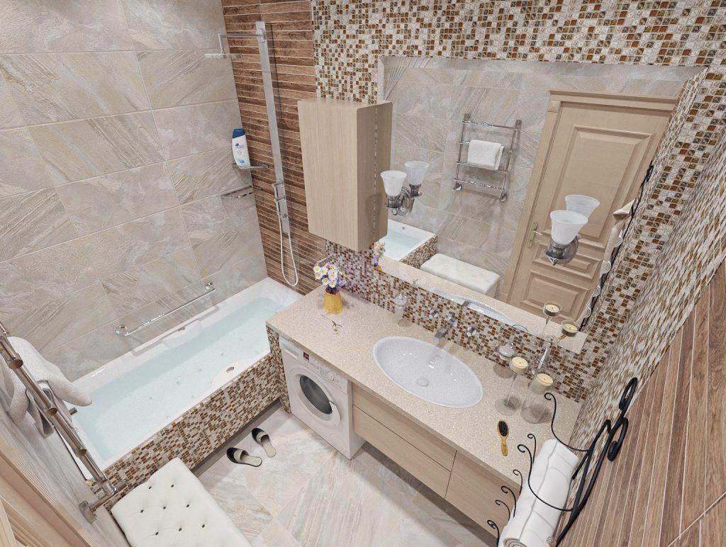 Мебель для ванной. Стиралка и выдвижные ящики под общей столешницей с раковиной