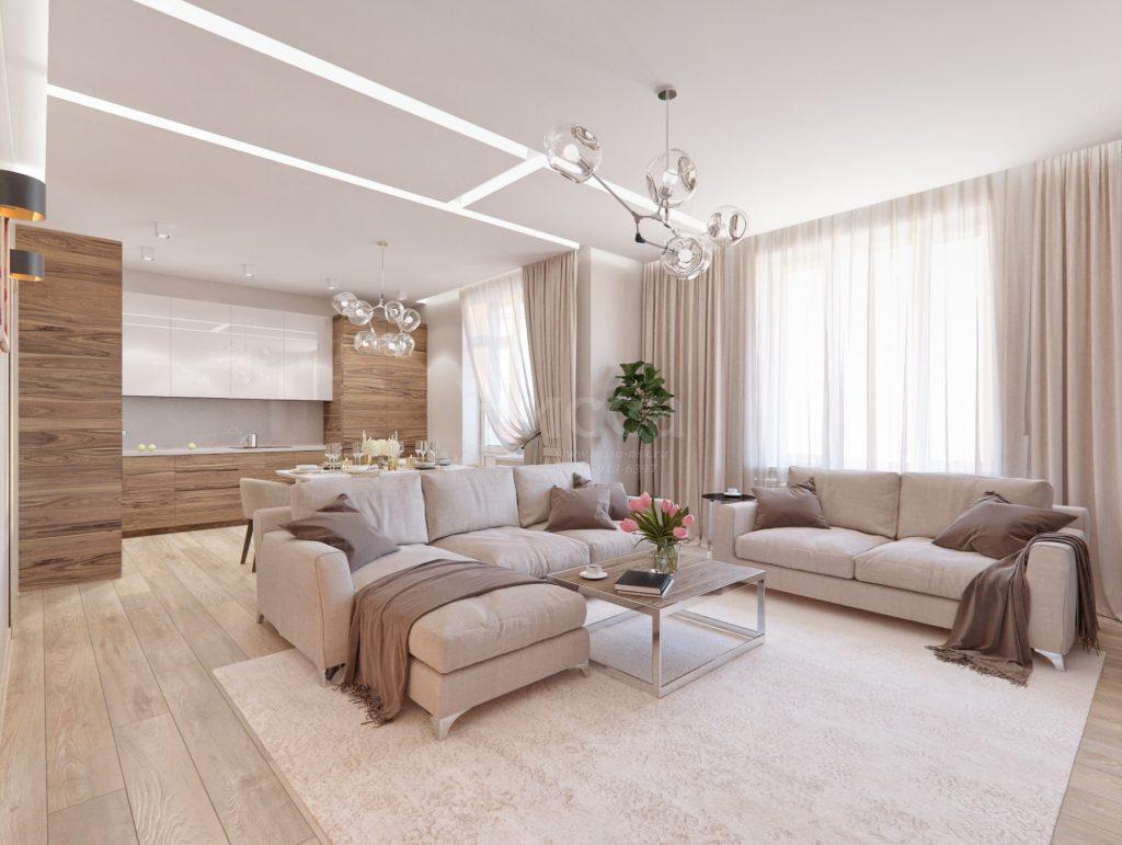 Объемные формы из натяжного потолка. Дизайн трехкомнатной квартиры.