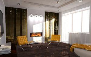 Дизайн интерьера гостиной. Встроенный электрический камин с подсветкой